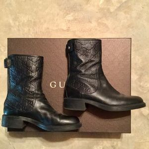 Gucci Leather Guccissima Ankle Boot, Black